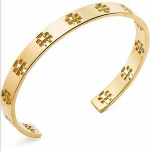 Tory Burch Pierced T Cuff Bracelet - Shiny Gold